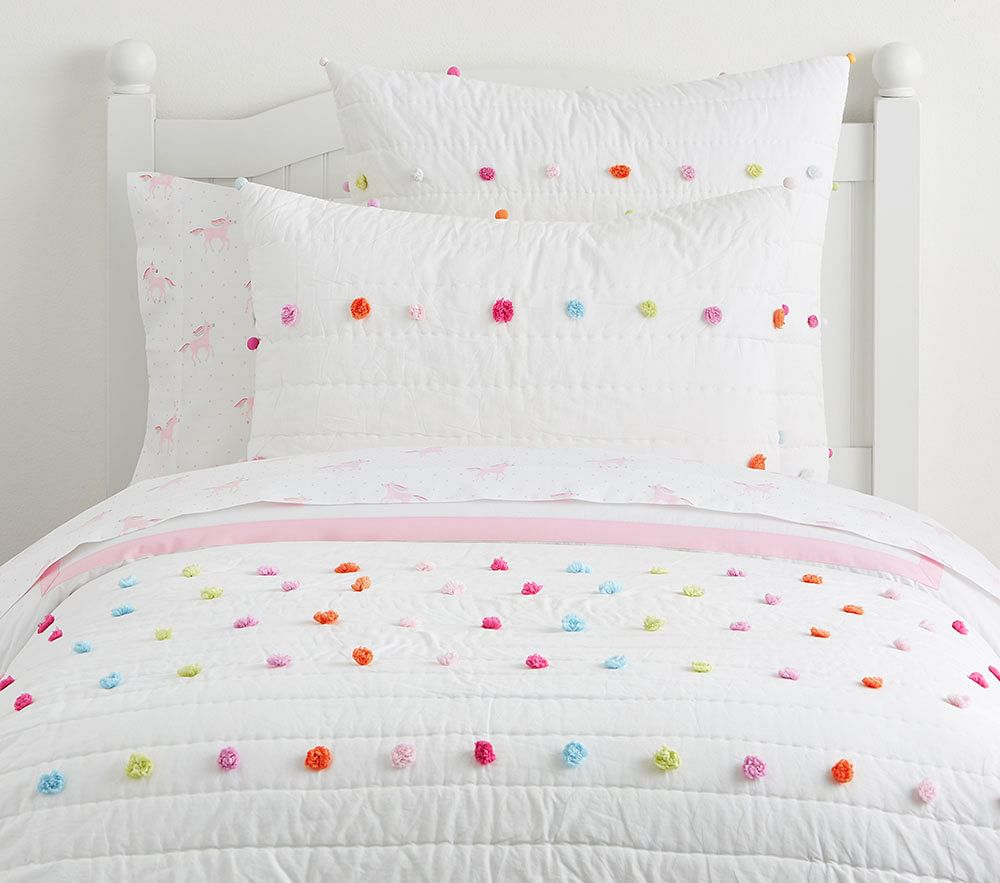 Bright Pom Pom Quilted Bed Linen Pottery Barn Kids Uk